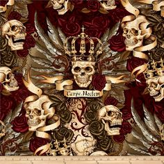 Alexander Henry Skullduggery Royal Vintage from @fabricdotcom  From the De Leon Design Group for Alexander Henry, this cotton print fabric features skull royalty with ornate crowns and royal banners. Perfect for quilting, apparel and home decor accents. Colors include black, cream, taupe, brown, purple, pink and shades of green.