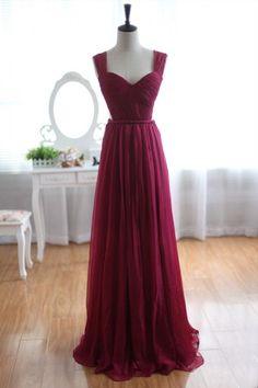Wine Red Burgundy Chiffon Bridesmaid Dress Prom Dress See Through Back #promheelsred