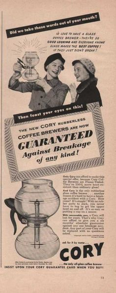 Cory Coffee Brewer Against Breakage (1949)