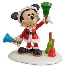 Disney Santa Mickey Mouse ''Ringing in the Holidays'' Figurine by Dept. Disney Christmas Decorations, Mickey Mouse Christmas, Merry Christmas, Christmas Trees, Mickey Mouse Figurines, Christmas Village Collections, Christmas Villages, Disney Merchandise, Santa