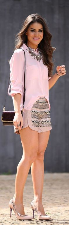 Pastel pink & bling: shirt, embellished shorts, rhinestone necklace, heels.