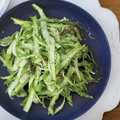 Asparagus often makes wine taste vegetal. To counter that, chef Mark Ladner of Manhattan's Del Posto mixes shaved spears with a supremely wine-friendl...