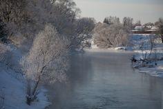 Русская зима в Новом Иерусалиме перед Крещением.Река Истра