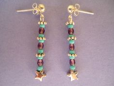Turquoise and violet beaded earrings with a silvery star - Bohemian jewel style - Hand-made