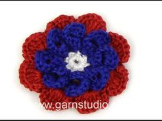 DROPS Crocheting Tutorial: How to work a May flower Norway National Day, 4th Of July Wreath, Beautiful Flowers, Crochet Necklace, Drop, Crocheting, Video, Youtube, Tejidos