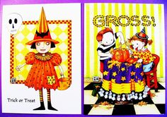 Set of 2 Mary Engelbreit Halloween Cards, Cute Witch w/Skull Balloon, Cute Kids