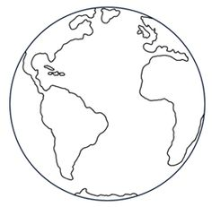 Black and white drawing of a cartoon Earth