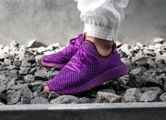 "Diehard fans of the worldwide hit anime, Dragon Ball Z, are going to love the Adidas Dragon Ball Z Deerupt Runner ""Son Gohan"". Dbz, Dragon Ball Z, Purple Color Schemes, Comfort Design, Nike Huarache, Sneakers Fashion, Streetwear, Shoe Boots, Adidas Sneakers"