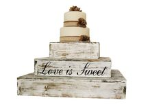 Distressed White Rustic Wedding Country Barn Farmhouse Wedding Cake Cupcake Stand 3 Tier Rustic Wooden Country Cake Cupcake Stand