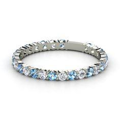 The birthstones of my boys:  14K White Gold Ring with Blue Topaz & Diamond  - Rich & Thin Band | Gemvara