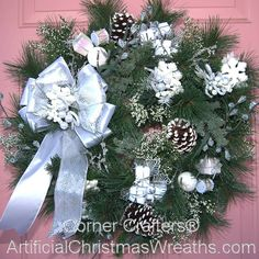 WHITE CHRISTMAS WREATH - add black and red