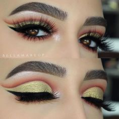 Gold Cut Crease Makeup For Amber Eyes #goldeyeshadow #cutcrease A woman with amber eyes is lucky as it is a rare natural eye color. Discover the best eyeshadow color combos for the prettiest makeup. #ambereyes #makeup #eyesmakeup #makeupideas