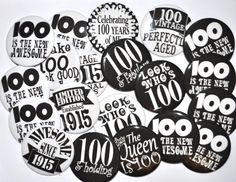 20 Buttons 100th birthday 100 and holding 100 by KimmEllenDesigns