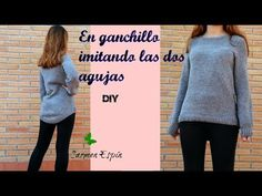 jersey de ganchillo en punto de arróz:diy - YouTube