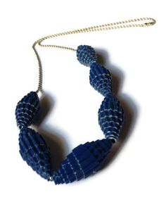 Blue Statement Bead Necklace -  #Corrugated #Paper #Cardboard - by PurpleSmoothie on Etsy, $15.00 ----- www.purplesmoothie.etsy.com