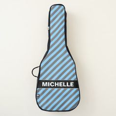 Custom Name  Light Blue & Gray Stripes Pattern Guitar Case - light gifts template style unique special diy