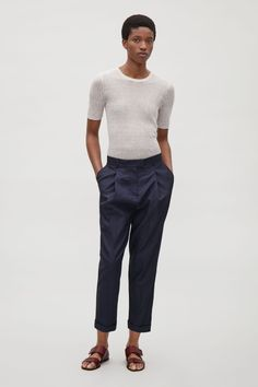 06d326ba8a COS image 6 of Relaxed trousers with pleats in Indigo Tailored Trousers