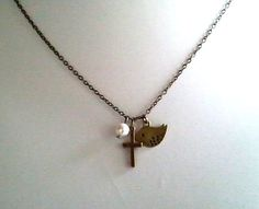 Antiqued Vintage Cross with Bird and Pearl Charms by LaLaCrystal, $22.00
