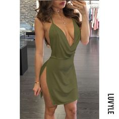 #AdoreWe #Luvyle - #Luvyle Spaghetti Strap Backless High Slit Plain Sleeveless Bodycon Dresses - AdoreWe.com