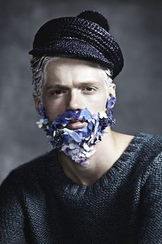 Another piece from Manuscript new issue: 'Blue Beards' photography by Kylie Coutts, styling by Jolyon Mason with hand-made-beards by Lisa Cooper. An interesting take on the blue trend that was in the men's collections. Glitter Beards, Flower Beard, Style Marin, Charles Perrault, Fashion Art, Mens Fashion, Beard Lover, Human Art, Carnival