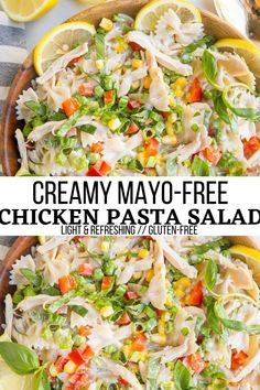 Creamy Chicken Pasta Salad - Light, refreshing mayo-free chicken pasta salad with fresh veggies is a marvelous main entree for summer or side dish. #glutenfree #pasta #pastasalad #chicken #chickenrecipes Pasta Salad Ingredients, Healthy Pasta Salad, Easy Pasta Salad, Pasta Salad Italian, Healthy Pastas, Pasta Salad Recipes, Good Healthy Recipes, Easy Dinner Recipes, Appetizer Recipes
