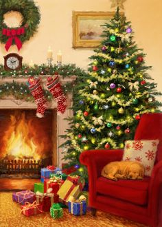 Christmas Light Show, Christmas Scenery, Old Time Christmas, Christmas Puzzle, Christmas Artwork, Cosy Christmas, Cottage Christmas, Christmas Puppy, Christmas Wonderland