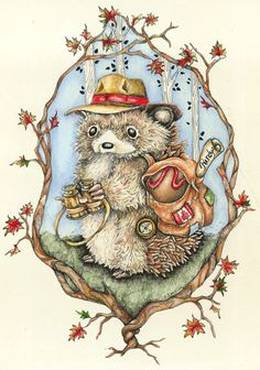 travelling hedgehog  -  Carrolyn Lakowski Illustration - carrolynlakowski@yahoo.com