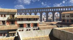 A recreation of high-rise blocks in ancient Rome