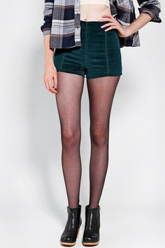These Kimchi Blue velvet pinup shorts and flannel are the cutest way to ease into Fall. #urbanoutfitters