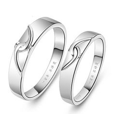 Name Engrave Matching Pair Wedding Sterling Silver Couple Ring - $59.00