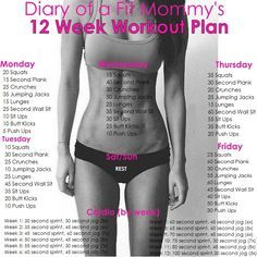 Diary of a Fit Mommy | 12 Week Home Workout Plan. No gym or equipment needed!