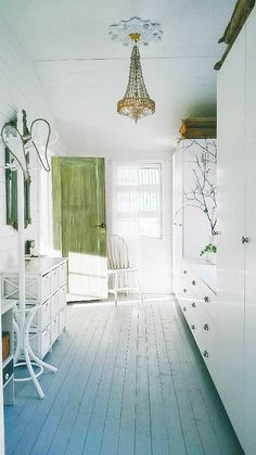 shabby chic hall, green door and mirror frame