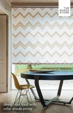 Keep it simple! Roller shades have a sleek, modern design and an uncanny ability to regulate natural light and provide privacy in your home. Visit any of our nationwide showrooms or shop online. As shown: Roller Shades | Chevron | Beige. Ships free in 7 days or less.