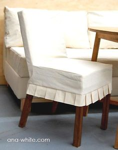 DIY slipcovers from Ana White... they look almost too easy. Love box pleats!!