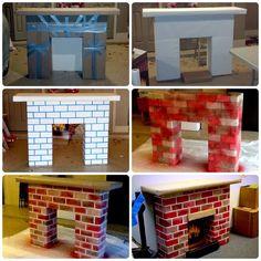 Built this fireplace from random scrap materials. - - Built this fireplace from random scrap materials. Diy Christmas Fireplace, Fake Fireplace, Fireplace Mirror, Fireplace Seating, Fireplace Kitchen, Fireplace Garden, Fireplace Hearth, Fireplace Furniture, Freestanding Fireplace