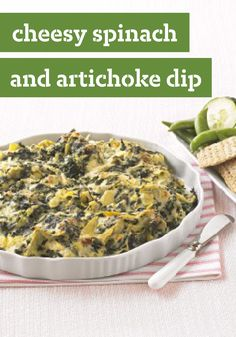 Cheesy Spinach and Artichoke Dip -- This restaurant-inspired dip recipe has all the richness and flavor of your favorite appetizer on the menu. Plus, its ready to serve in just 30 minutes time.