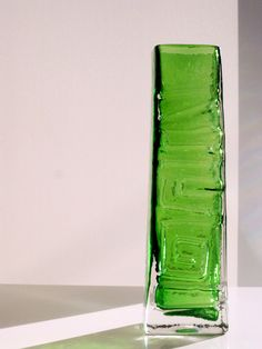 Whitefriars Totem Pole meadow green glass vase by Geoffrey Baxter. Early 1970s.