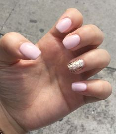 Light pink with gold glitter gel nails. Are you looking for gold silver white bling glitter wedding nails? See our collection full of gold silver white bling glitter wedding nails and get inspired!