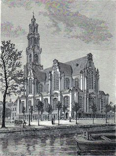 Antique print church westerkerk Amsterdam 1879
