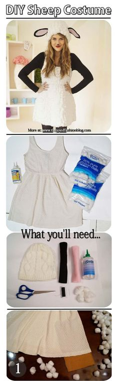 Best Last Minute DIY Halloween Costume Ideas - Cute Homemade Lamb Costume - Do It Yourself Costumes for Teens, Teenagers, Tweens, Teenage Boys and Girls, Friends. Fun, Clever, Cheap and Creative Costumes that Are Easy To Make. Step by Step Tutorials and Instructions http://diyprojectsforteens.com/last-minute-diy-halloween-costumes More