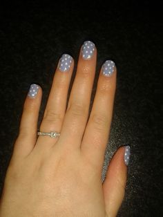 CND Shellac Wisteria Haze with Cream Puff dots