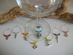 Cat Wine Glass Charms, Cat Wine Lovers Gift Party Favors, Wine Glass Indicators Markers, Pet Related Event Favor Gift by SeashellBeachDesigns on Etsy
