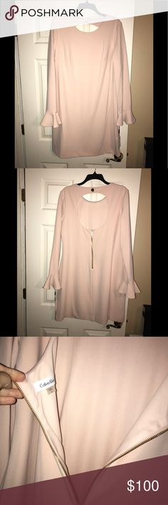 🆕💙CALVIN KLEIN💙Keyhole Back Bell Sleeves Midi 🆕💙 CALVIN KLEIN 💙Keyhole Back with Bell Sleeves Midi Dress. Color is a Blush Pink. Gold hardware. Exposed Gold zipper in back.  Size-14. Comes with extra gold button. Fully Lined. Polyester / Spandex. Original cost $150 Calvin Klein Dresses Midi