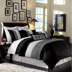 Black Hudson Luxury Bedding Set The Black & White Hudson comforter set by Royal Tradition offers a modern, tailored look that creates an aura of calmness in any bedroom. Black Comforter, Queen Comforter Sets, Striped Bedding, Bedding Sets, White Bedding, Green Bedding, Twin Comforter, Dorm Bedding, Grey Duvet