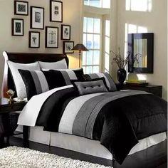 6pcs negro blanco gris lujo raya edredón de la cama-in-a-bag