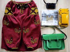 Wine red linen bohemian blouse vyshyvanka by FashionFromUkraine
