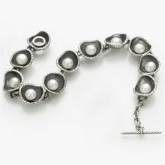 Forged Cup 11 Link Bracelet. DGiordano.com. New Orleans Jewelry. Patina Sterling Silver, 7mm freshwater button pearls.