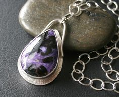 Charoite Pear shaped Pendant necklace in Sterling Silver Setting/Purple/Black Swirl Pattern