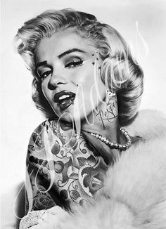 Marilyn Monroe Tattoo Tattooed Print by JJ Adams - Art Rebellion - Art Gallery & Cafe Lounge www.artrebellion.co.uk