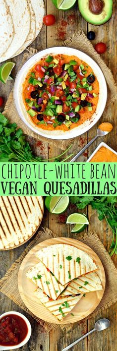 Chipotle-white bean quesadillas are an easy and quick weeknight lunch or dinner. No need for cheese with this creamy bean spread making these quesadillas totally vegan-friendly!